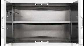 BULL Edelstahl-Schrankeinsatz mit Regalboden für Doppeltüren in 76 cm (für 33568BU) - ohne Türen