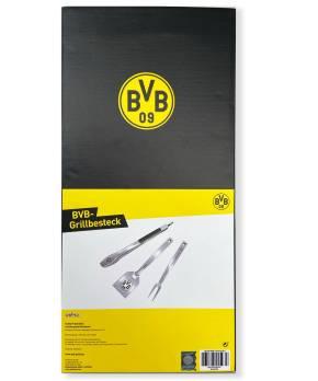 Grillfürst Premium Grillbesteck Set mit Grillzange, -Wender und -Gabel - Borussia Dortmund Edition in Geschenkverpackung