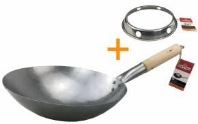 Grillfürst Wok Durchmesser Ø 30 cm mit Wok-Ring für Seitenkocher / Grillrost