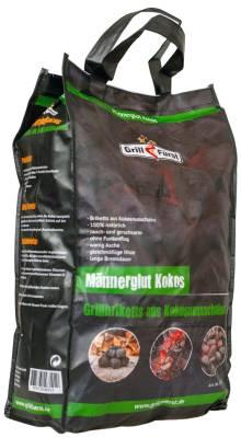 Männerglut Kokos - 10 kg Grillbriketts aus Kokosnuss-Schalen