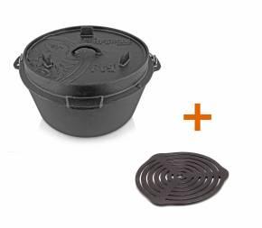 Petromax Feuertopf 8,5 Liter Dutch Oven - mit Füßen - exklusiv mit gratis Gussrost Einsatz